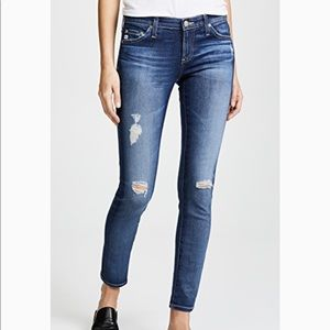 AG lightly distressed skinny jean